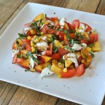 Tomato, Peach, + Burrata Salad