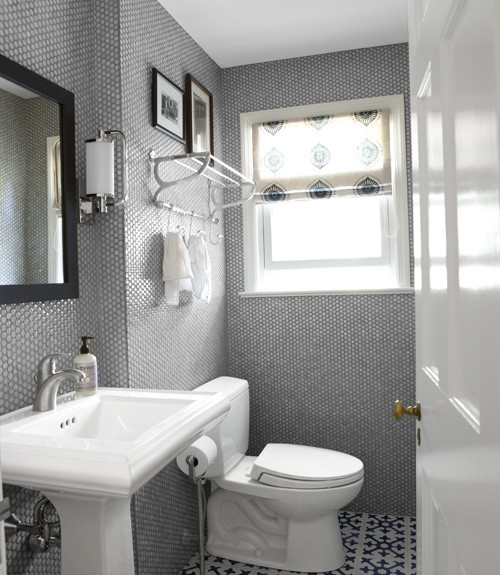 Popular The Crisp White Walls Get A Boost From Tilesturnedwall Art Patterned Tiles Around The Mirror Serve As A Oneofakind Frame This Lightfilled Bathroom Mixes
