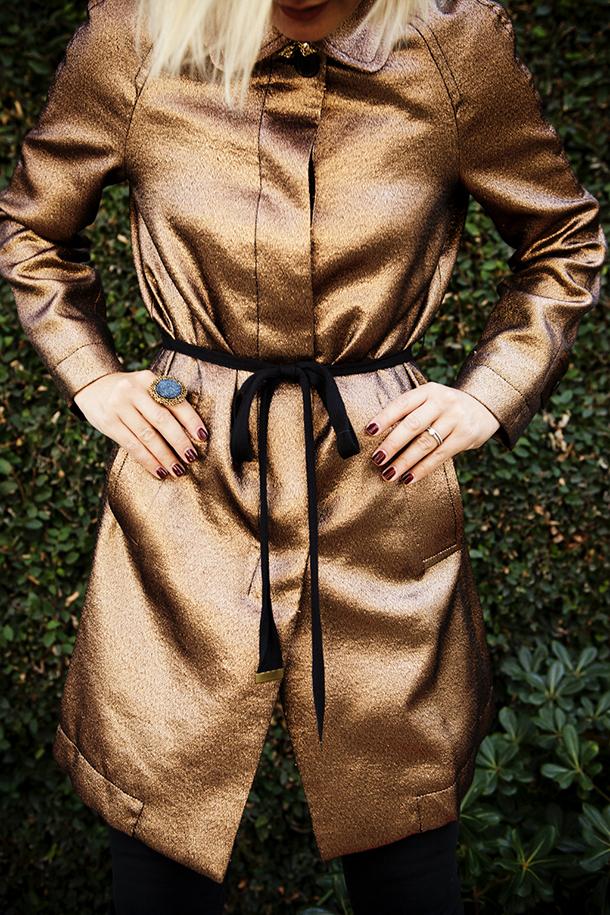 Close up of the metallic coat