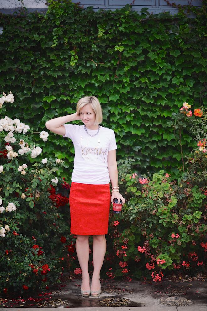 Jen Pinkston : Red Pencil Skirt 3