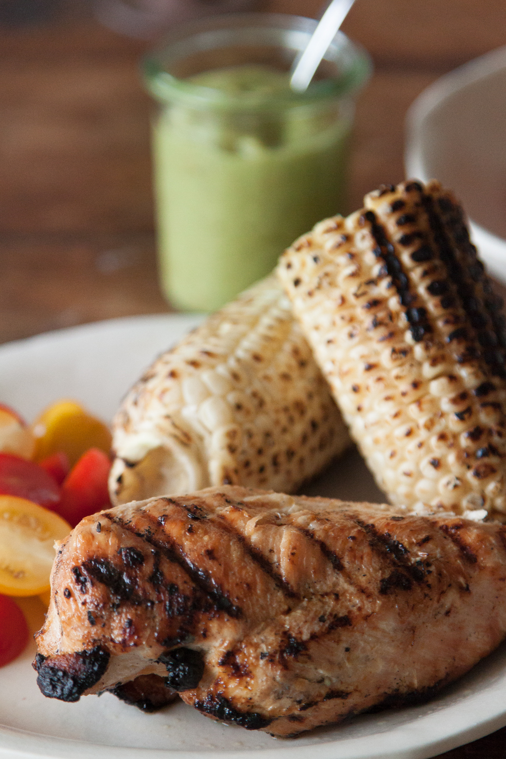 Grilled Chicken with a Tomatillo Avocado Sauce