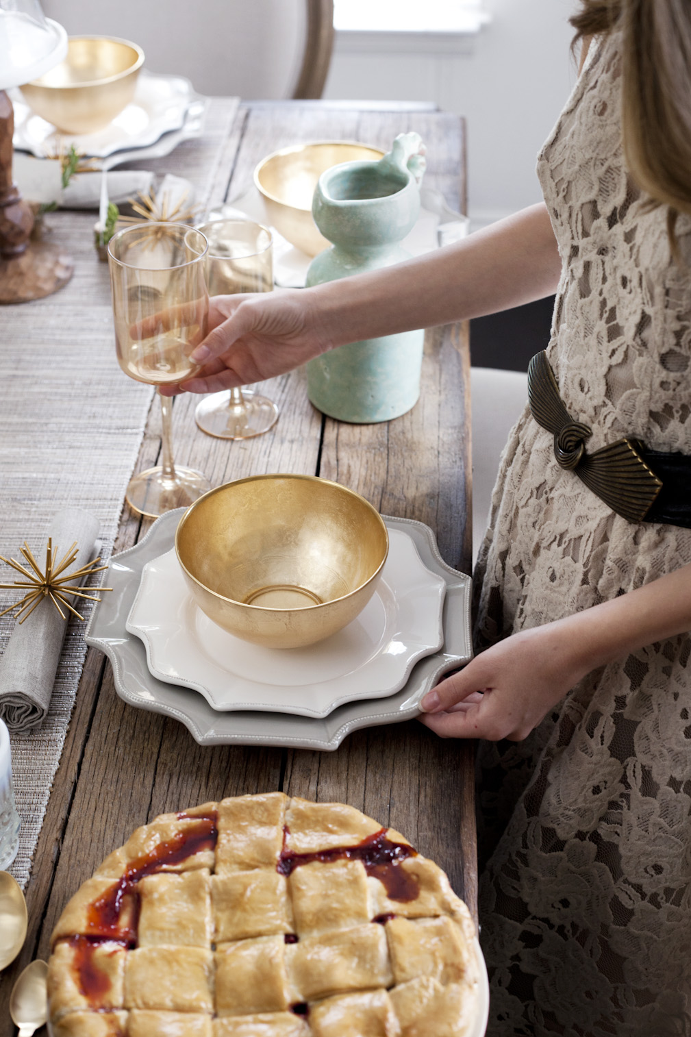 Setting the thanksgiving table