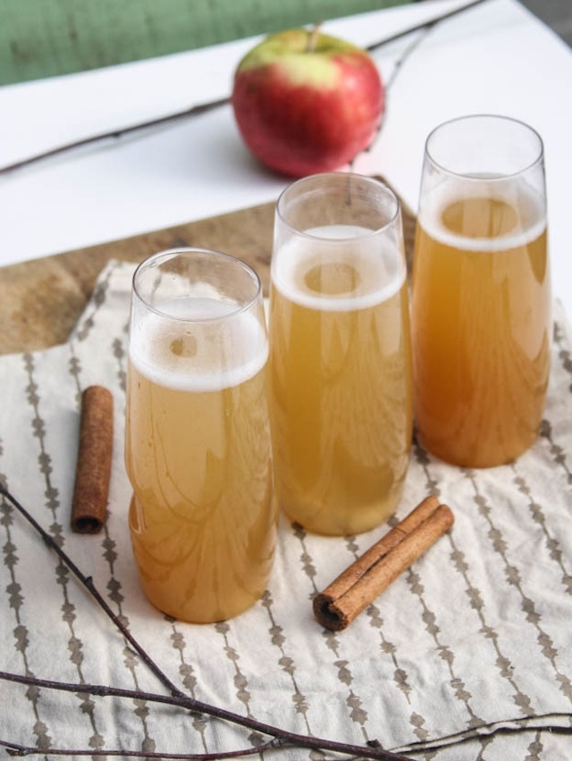Three glasses of an apple cocktail