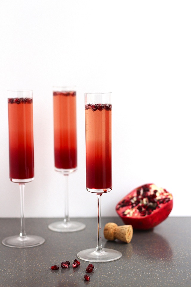 Red Thanksgiving cocktails served in three tall glasses