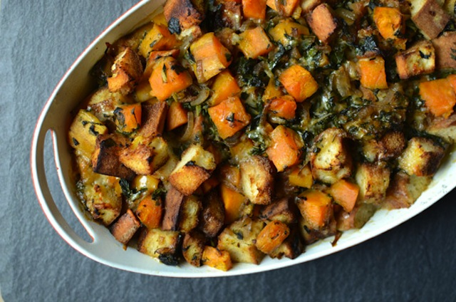 A sweet potato thanksgiving side dish served in a white casserole