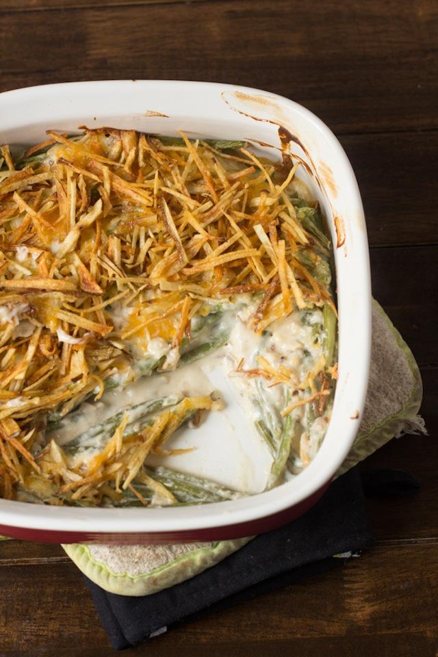 Thanksgiving side dish of green bean casserole in a casserole dish