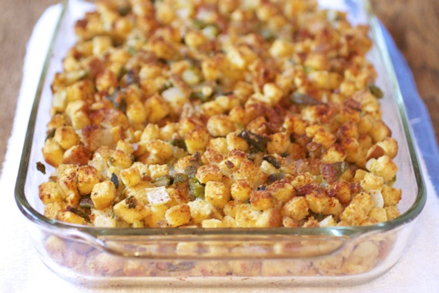 Thanksgiving stuffing in a glass casserole