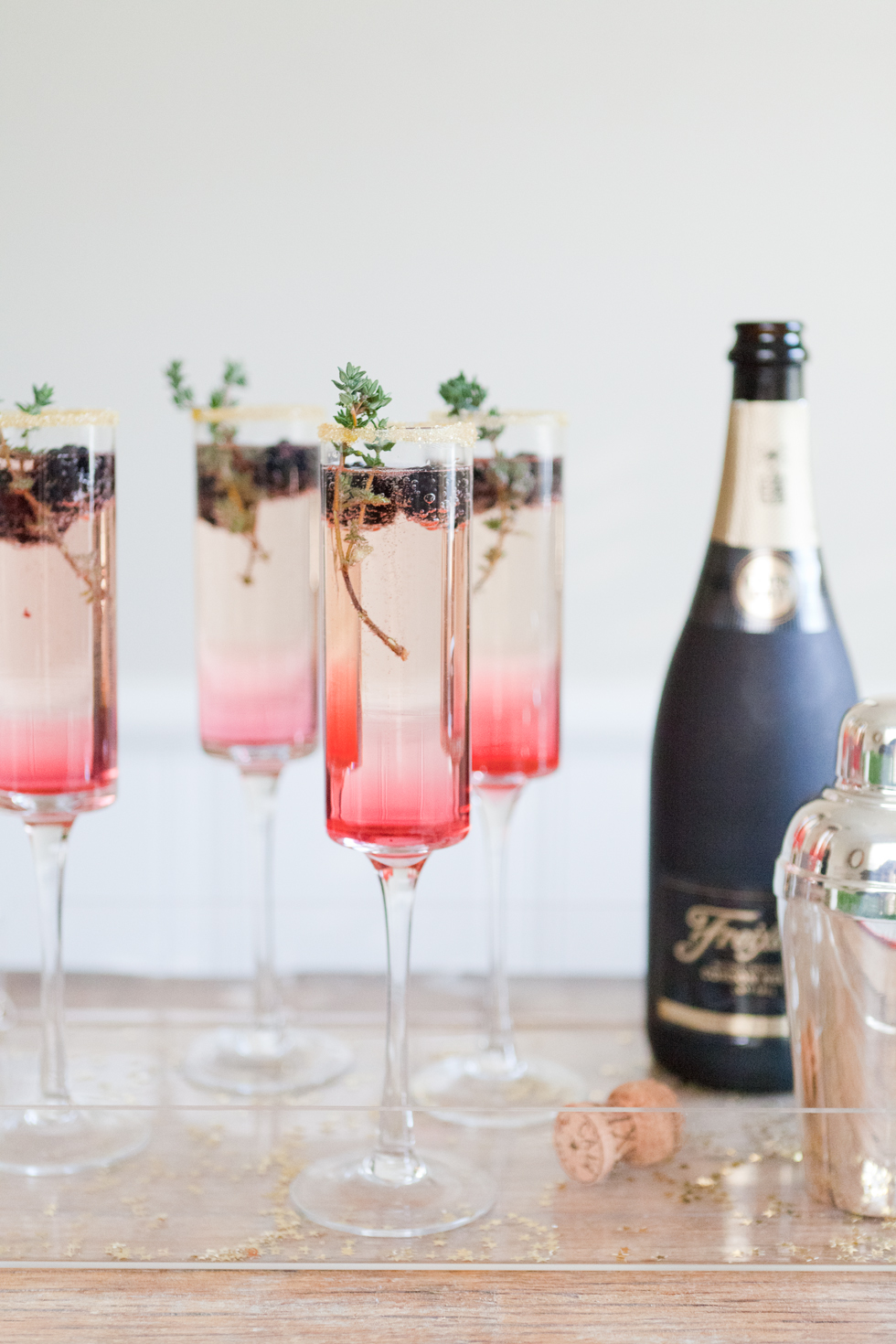 New Year's Eve Champagne Cocktail Recipe: Blackberry Thyme Sparkler