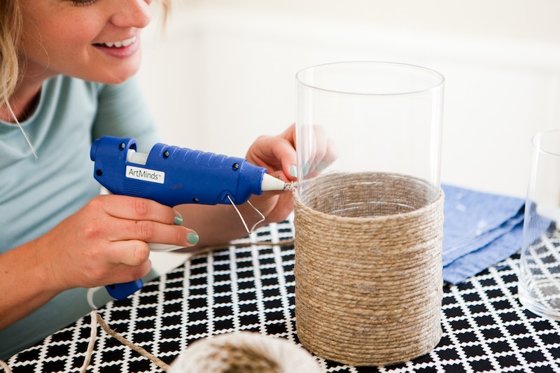 gluing twine to the vase