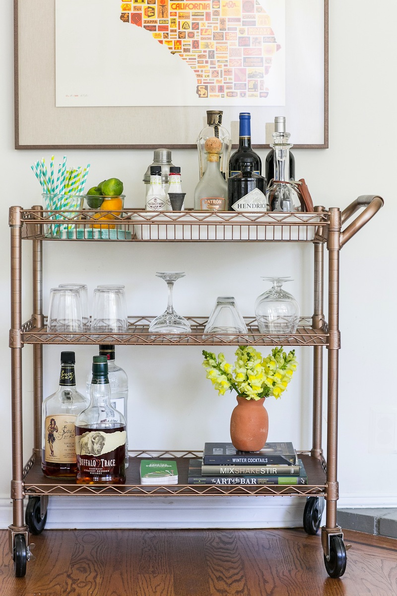 diy bar cart near wall
