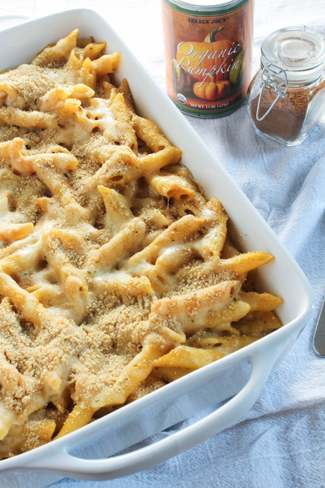 Baked pasta in a white casserole dish