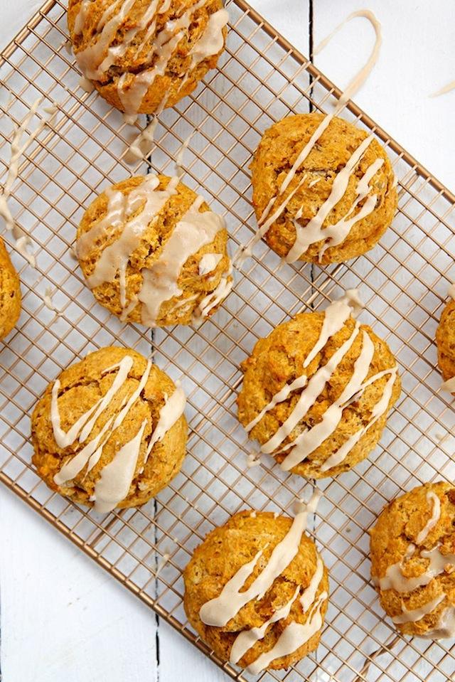Pumpkin scones on a cooling rack