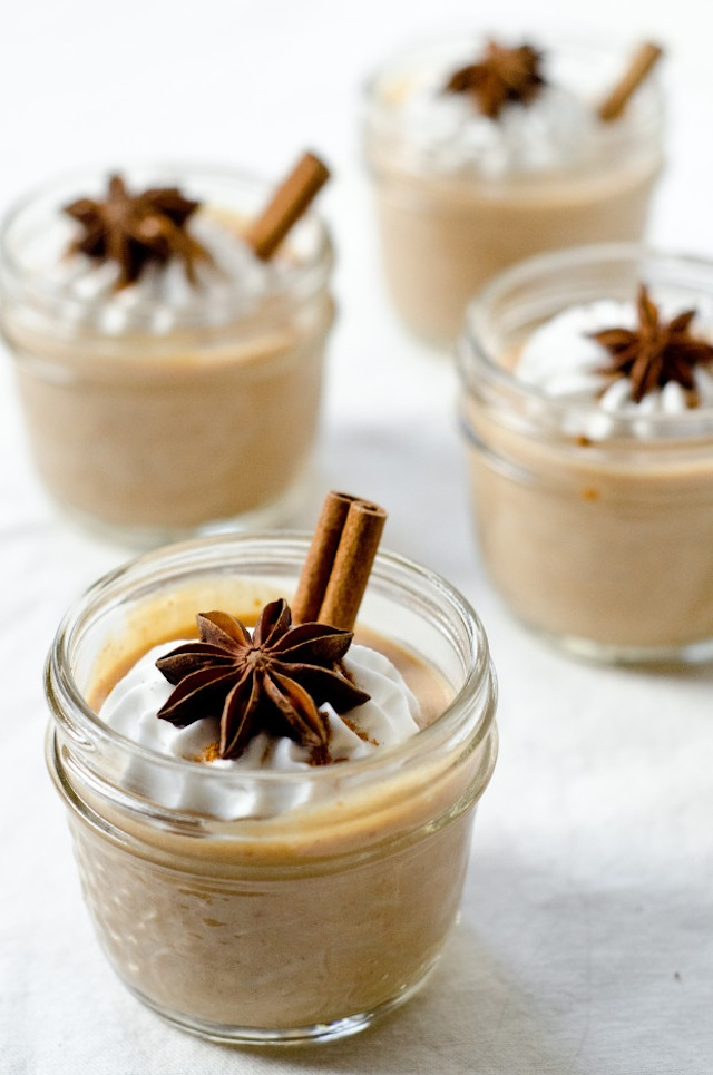 pumpkin latte mousse in small glasses
