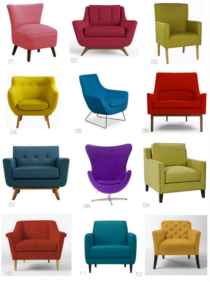 Bright colored accent chairs colorful and comfortable for Bright colored side tables