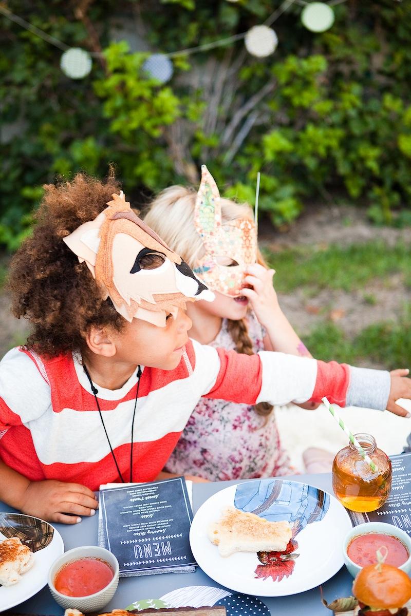 Children in fun halloween animal masks