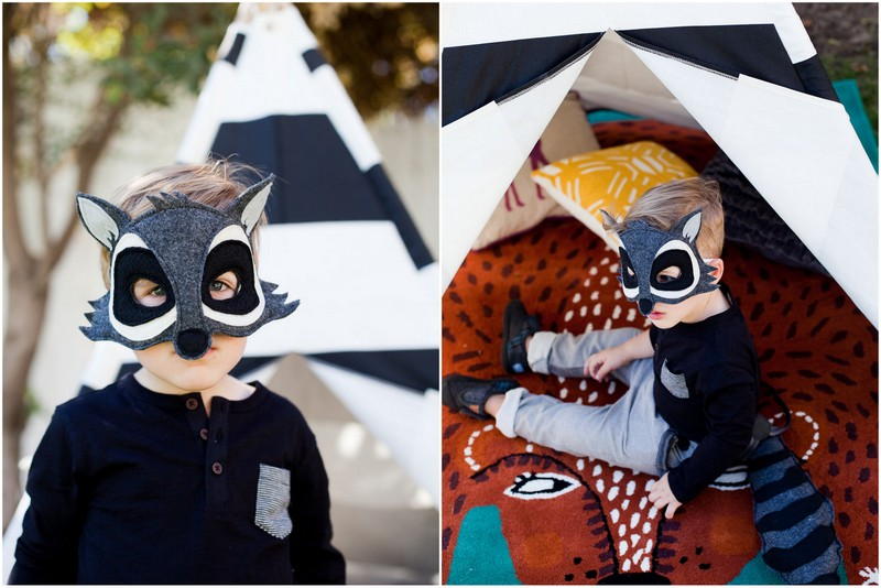 Two photos of a boy in a raccoon mask at the Kids Halloween Party
