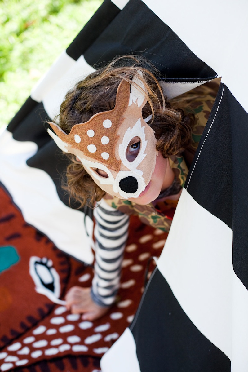 A child in a deer mask at the Kids Halloween Party