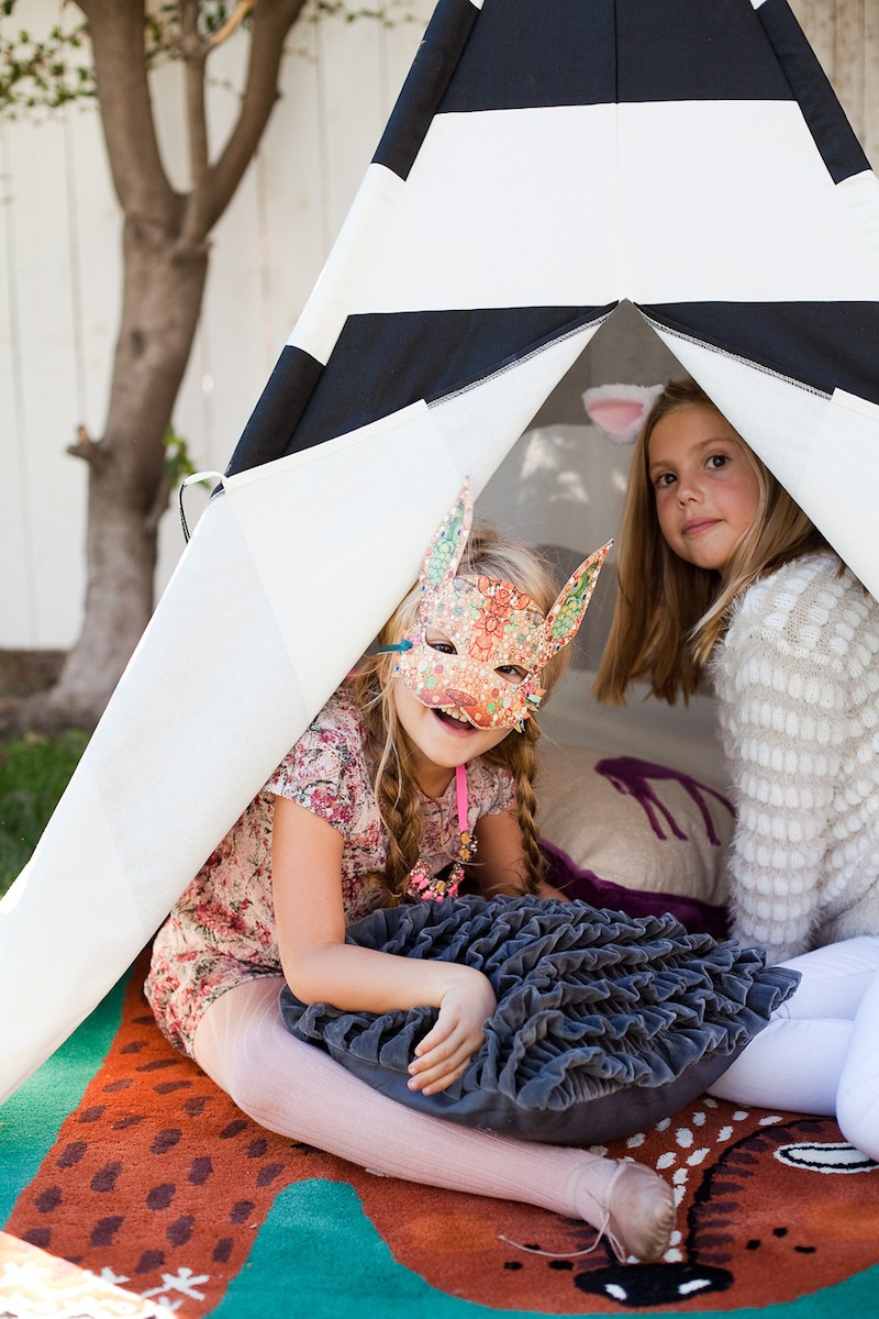 Two girls in a tent at the Kids Halloween Party