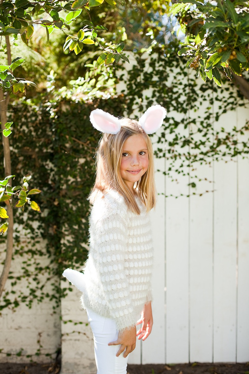 A girl in a rabbit costume