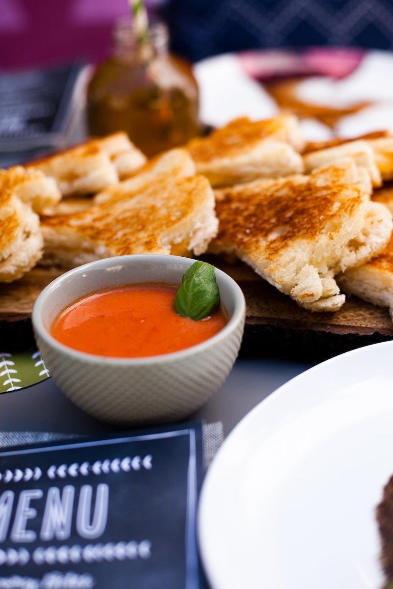 Cheese sandwiches and tomato soup