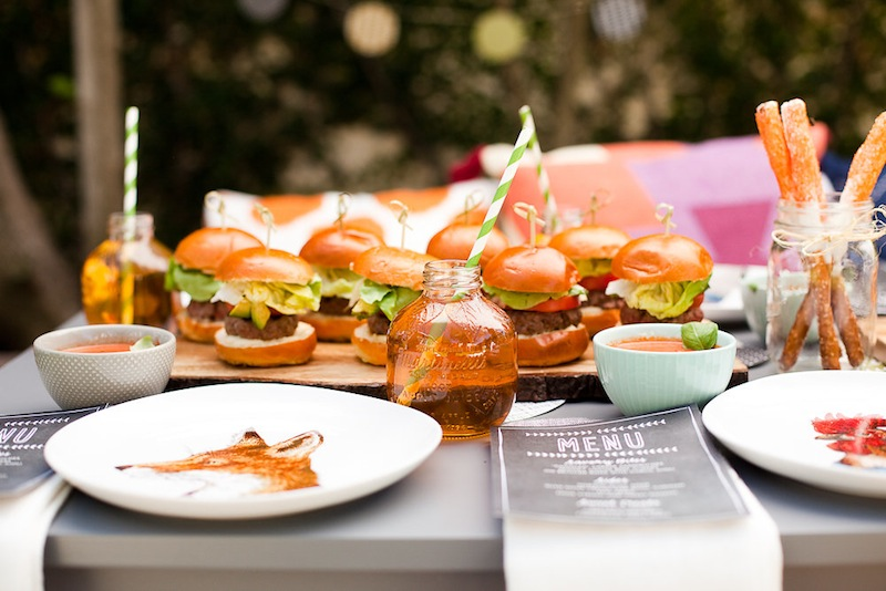Burgers served on the table