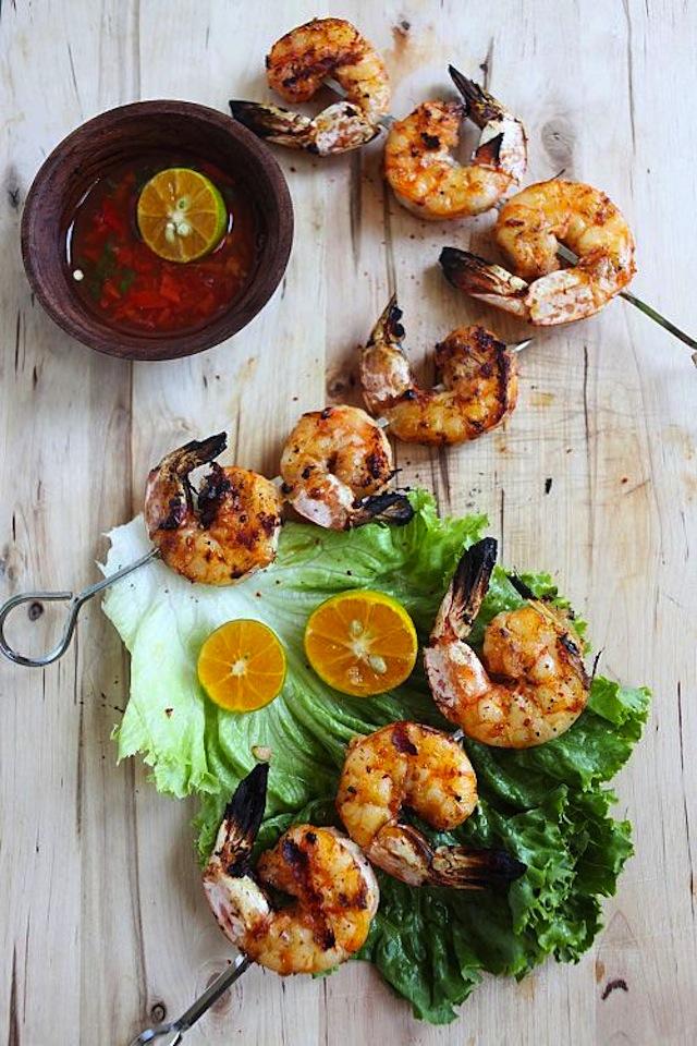Shrimp skewer appetizer for thankgiving