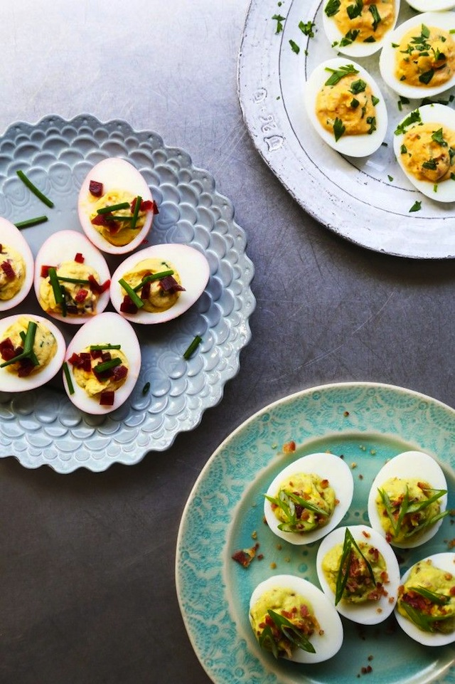 Devilled eggs on plates