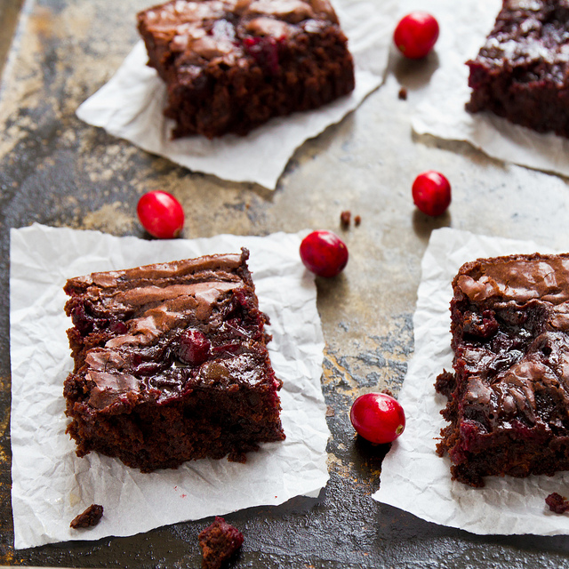 Brownies made with leftover cranberries