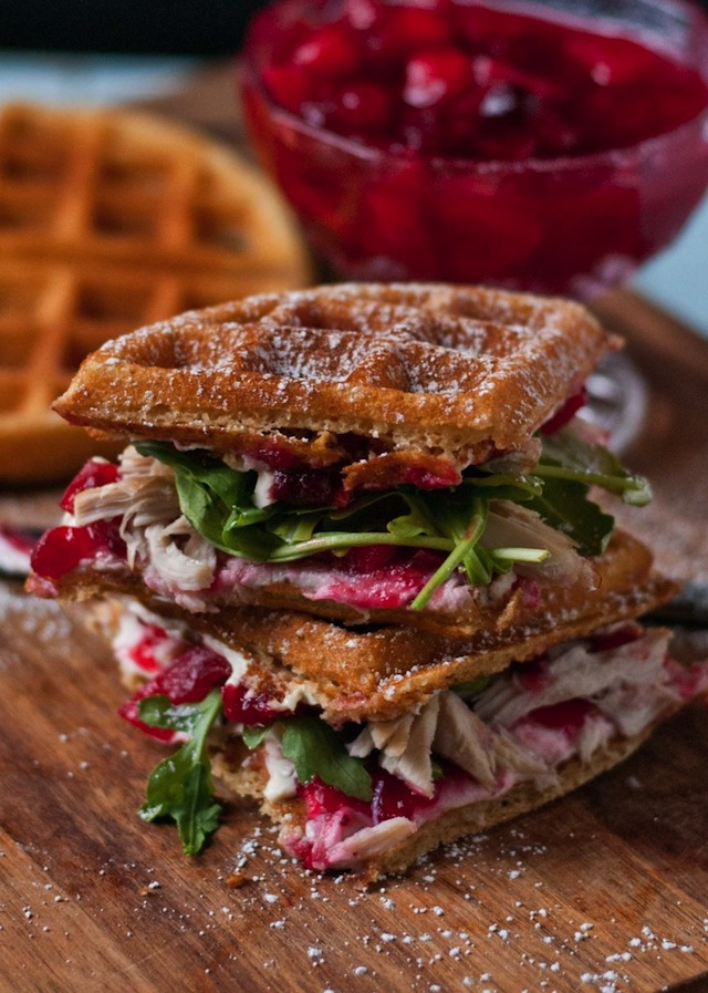 Waffle sandwiches with leftover turkey and cranberry