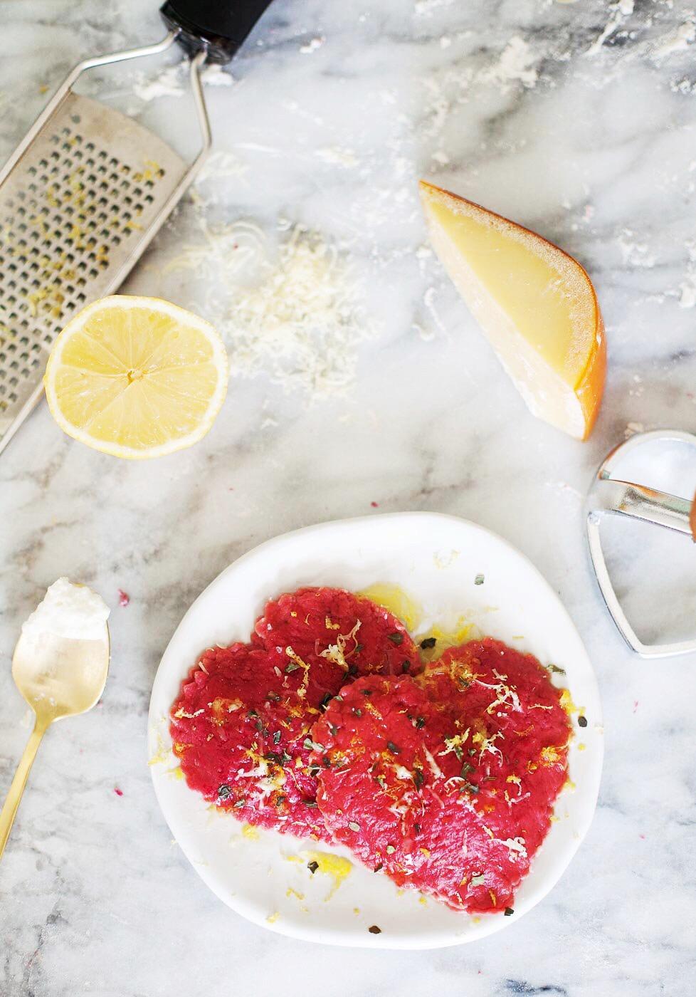 Heart Shaped Lemon Sage And Ricotta Beet Ravioli