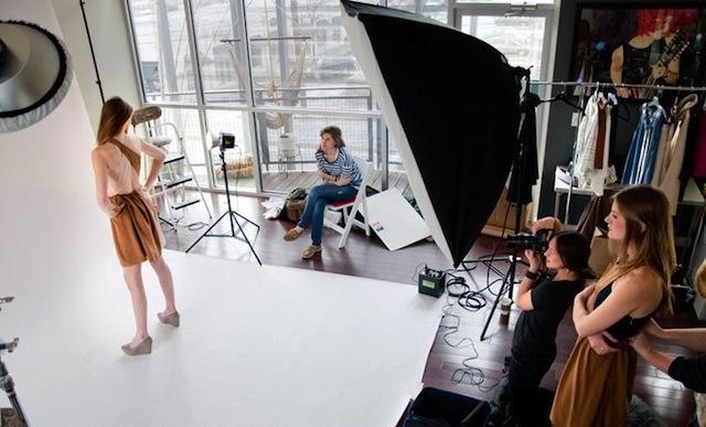 A fashion stylist at a photo shoot