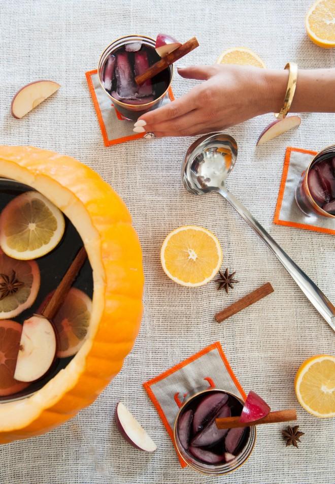 Fall sangria served in a pumpkin