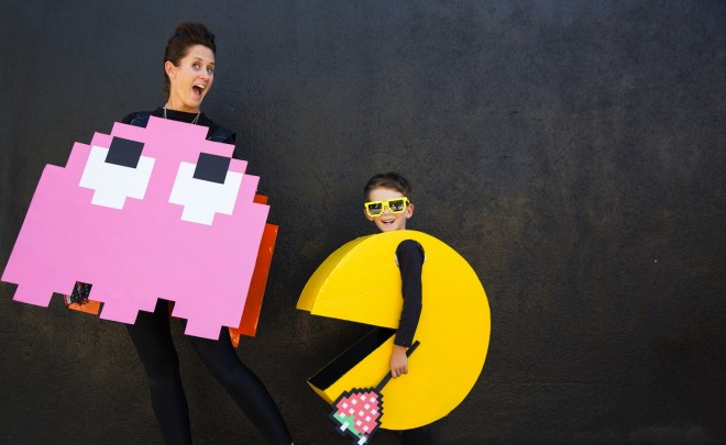 A monster and PAC MAN Halloween costume