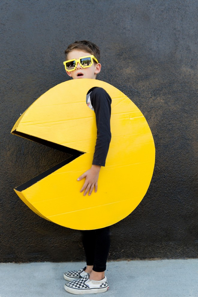 A boy in a PAC MAN Halloween costume