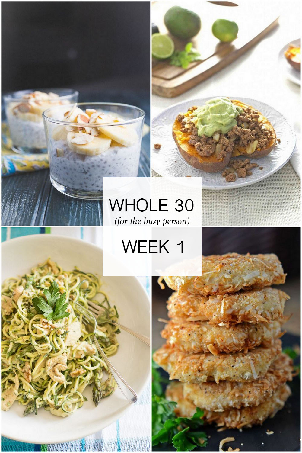Collage of Easy Whole30 Meal Plan recipes