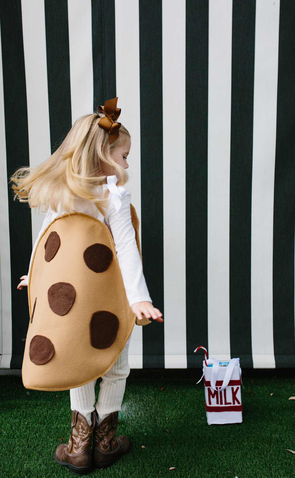 The back of the Chocolate Chip Cookie Costume