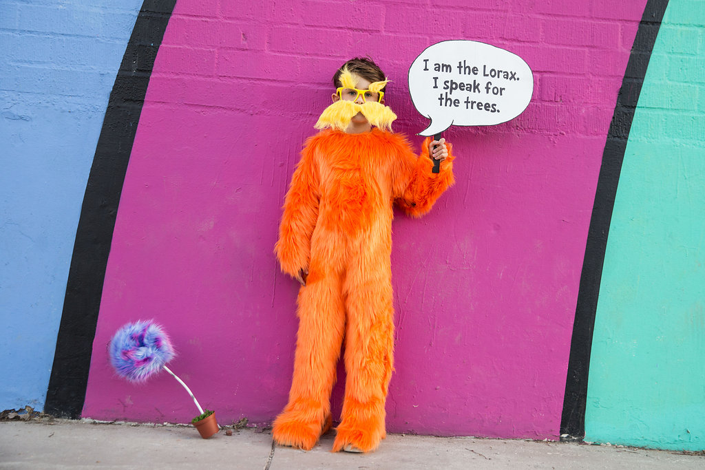 a boy wearing the lorax costume and sign