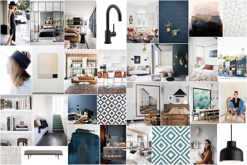 Style board with interior design ideas