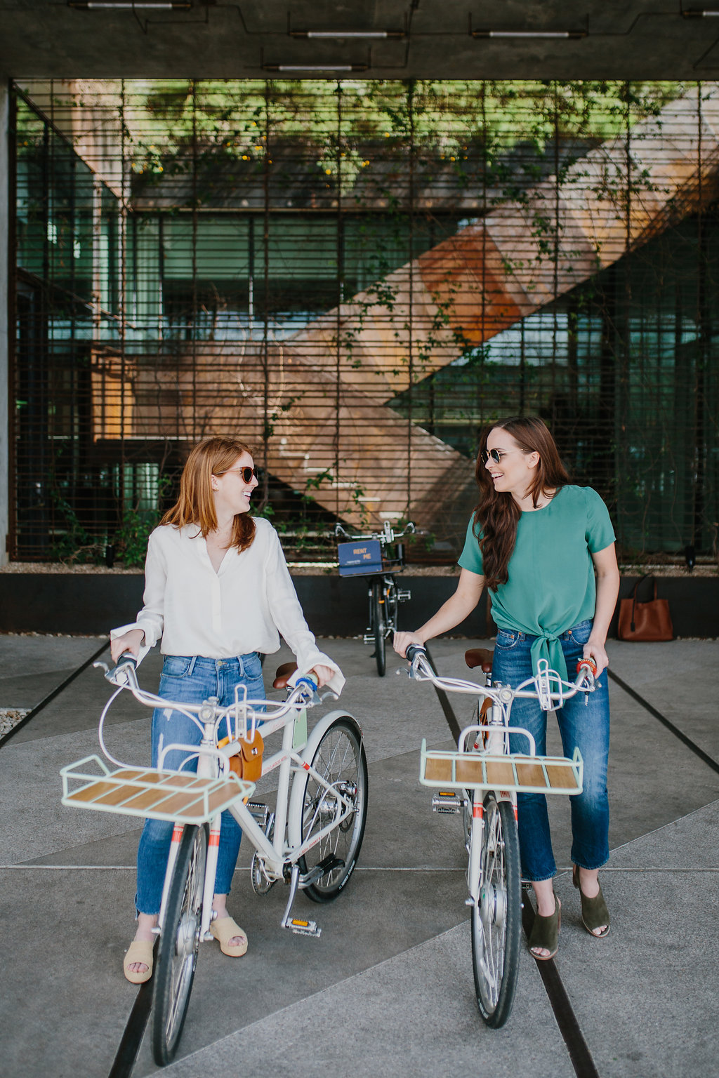 women with bikes on a weekend in austin