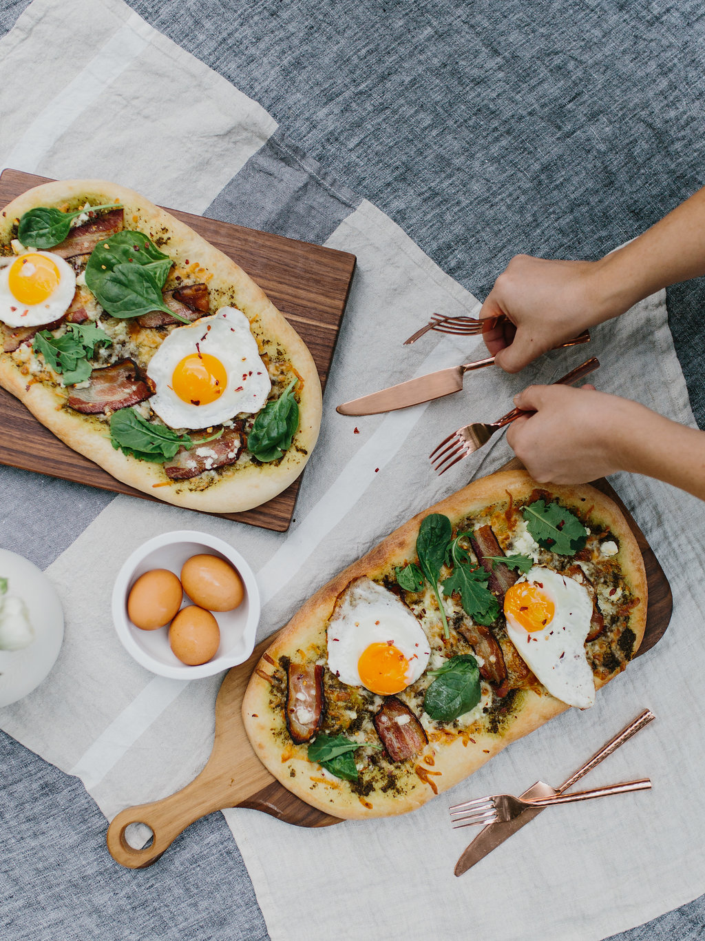 breakfast pizza recipe on table