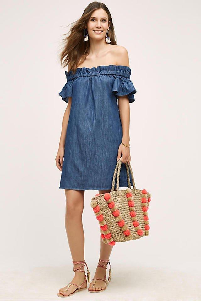 Model in a denim dress cover up