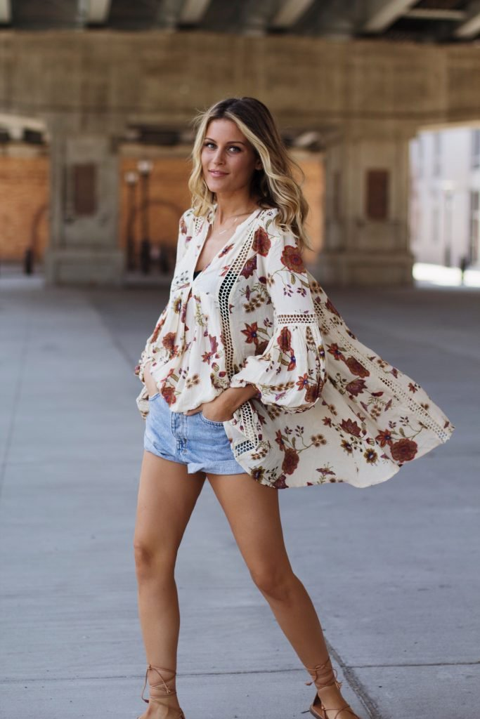 Model wearing a cover up over jean shorts