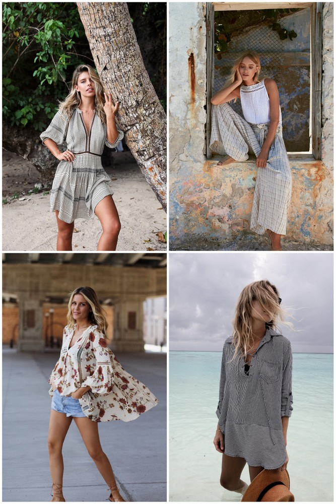 Collage of four beach cover ups
