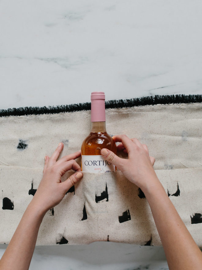Wine Bottle Fabric Wrap DIY - The Effortless Chic