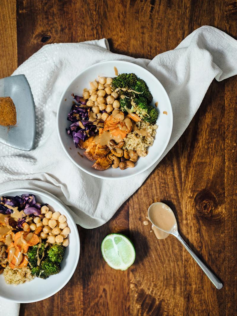 vegetarian buddha bowl on table