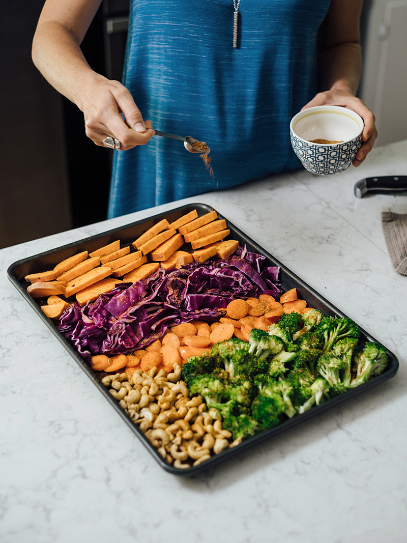 vegetables on roasted tray