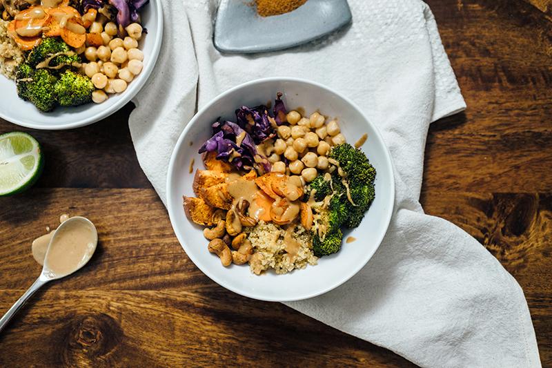 two vegetarian buddha bowls on table