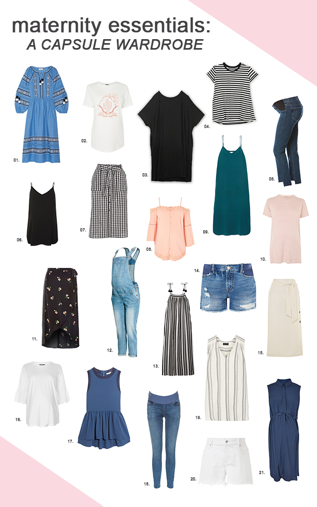 Items for a maternity capsule wardrobe