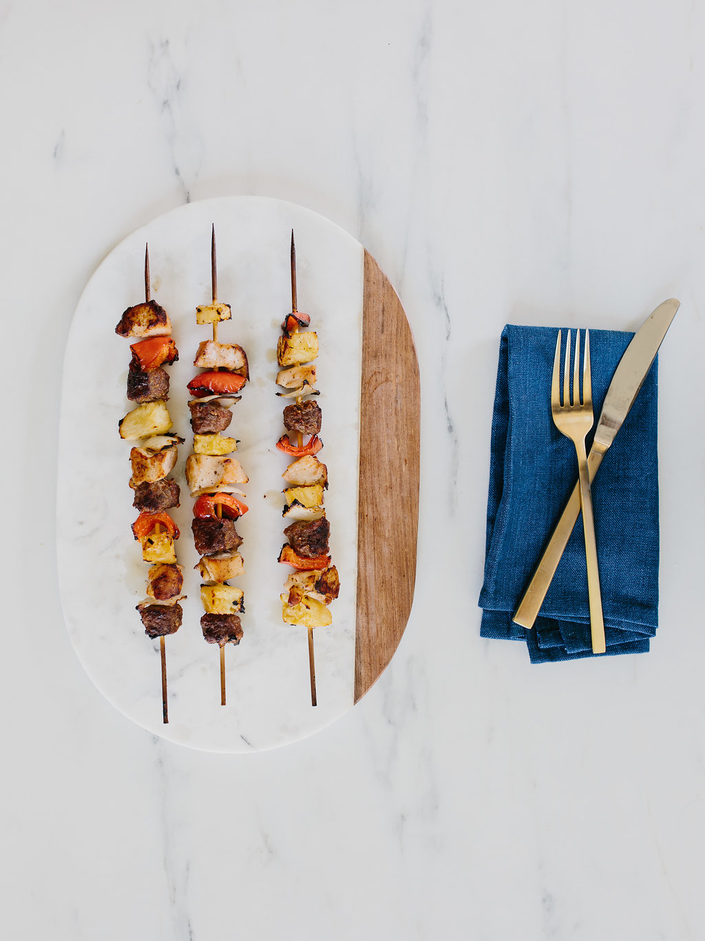 chicken kebabs on plate