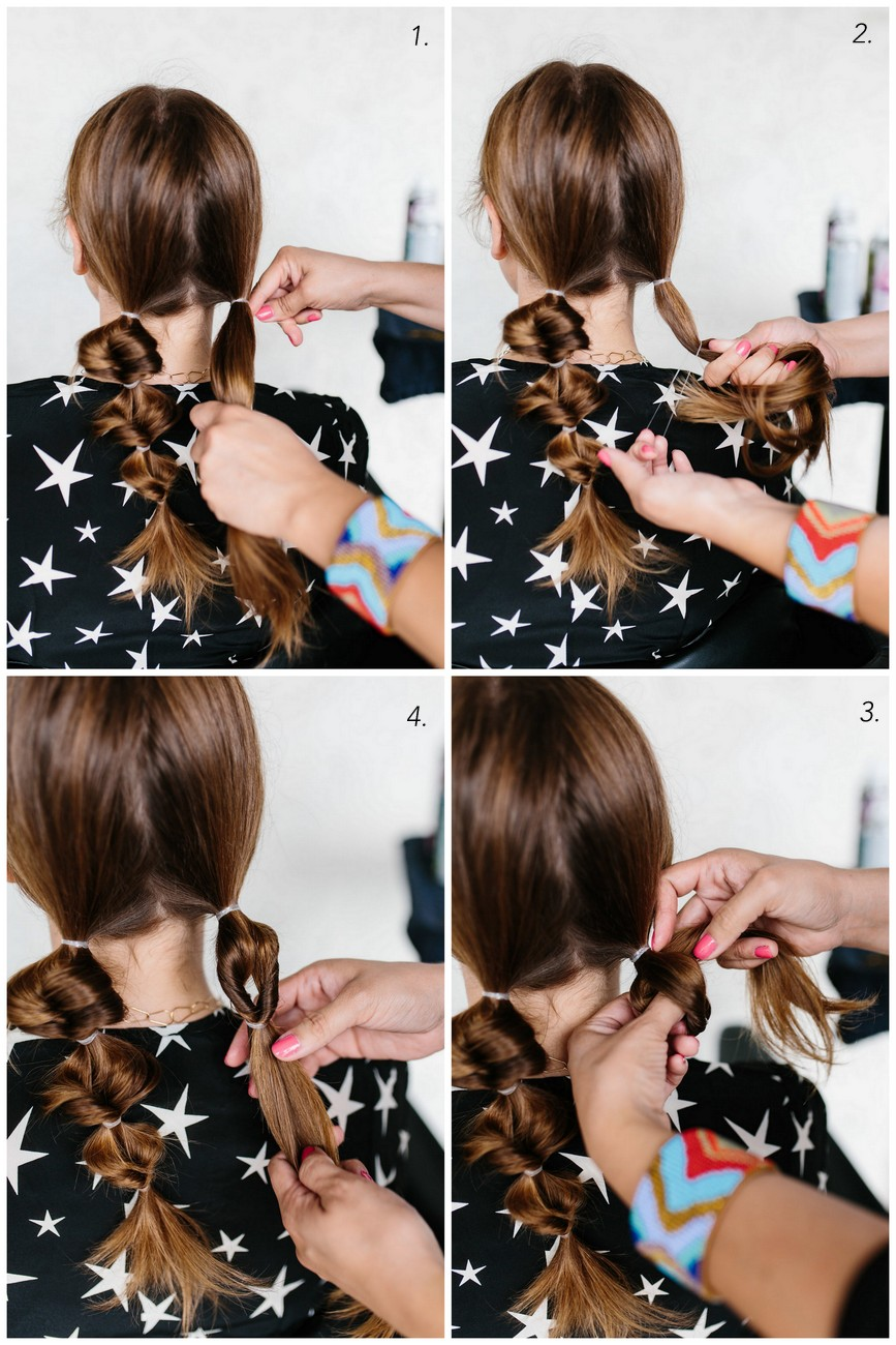 step by step collage for topsy tail pigtails